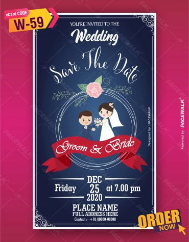 Cute Cartoon Style Wedding Invitation Card