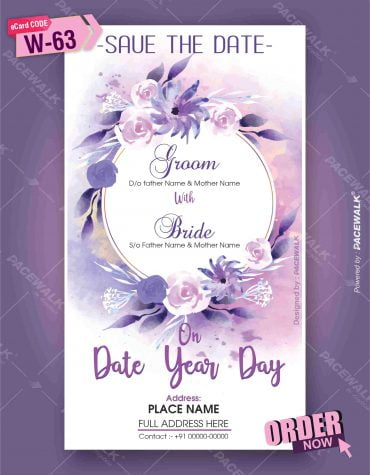 Purple floral wedding invitation card template