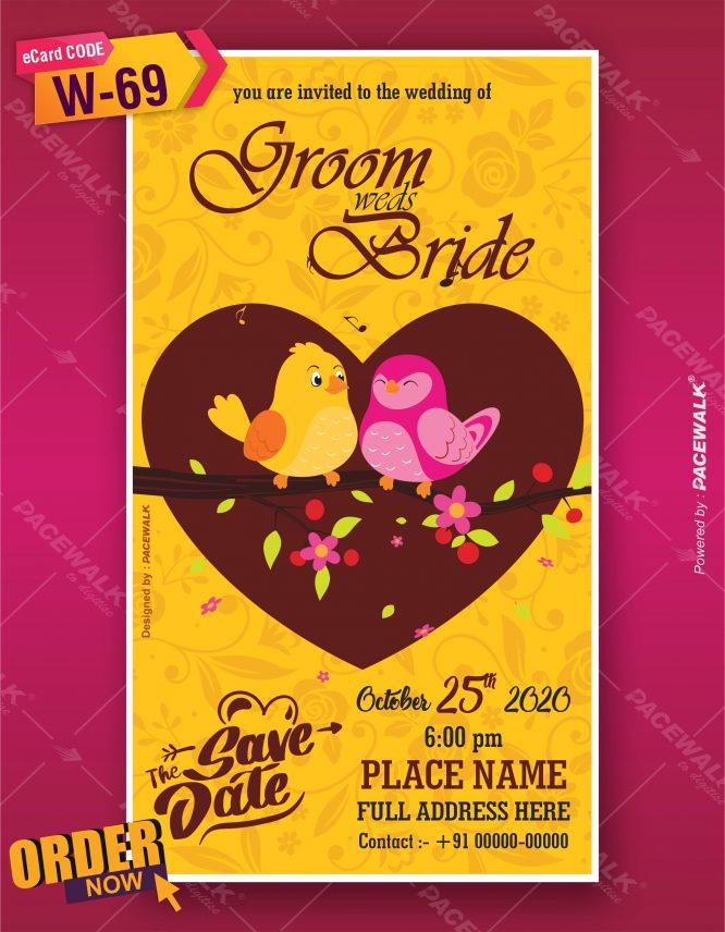 Best Love Bird Wedding Invitation card
