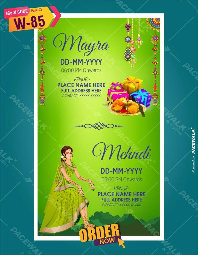 Rajasthani theme mehndi invitation card