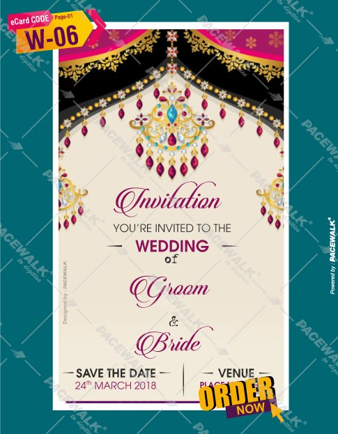 indian wedding invitation card bride side
