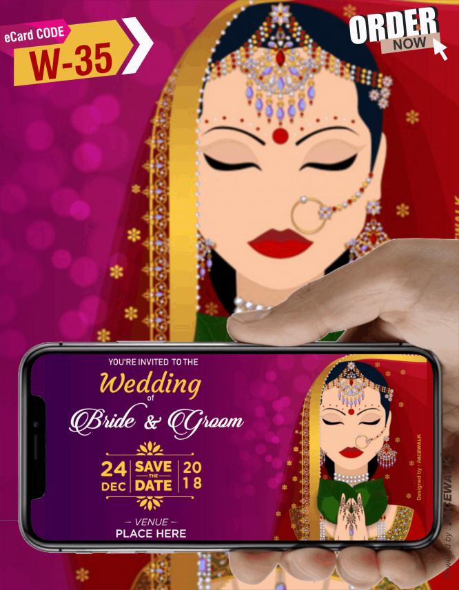 Traditional wedding invitation ecard bride side