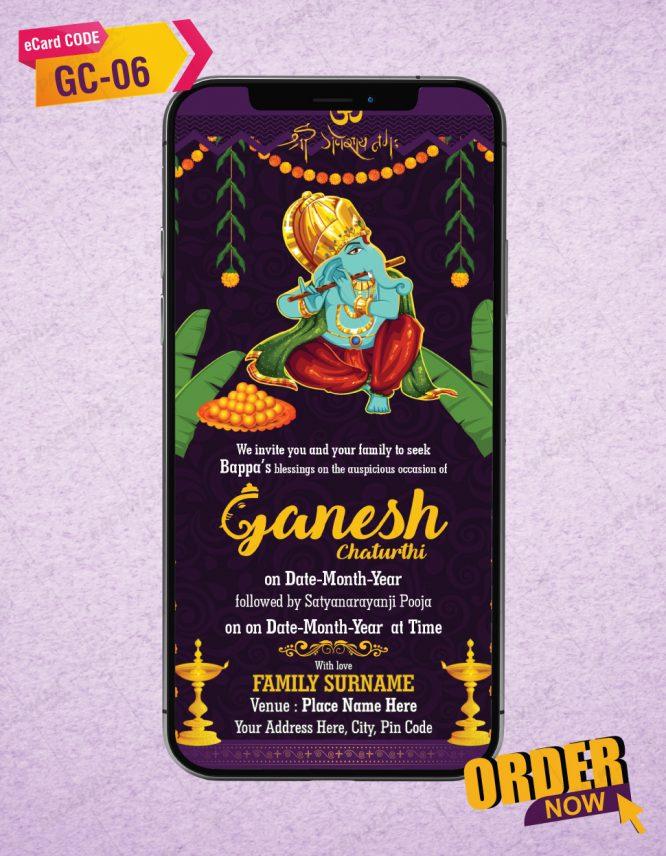 Custom Ganesh Chaturthi Invitation eCard