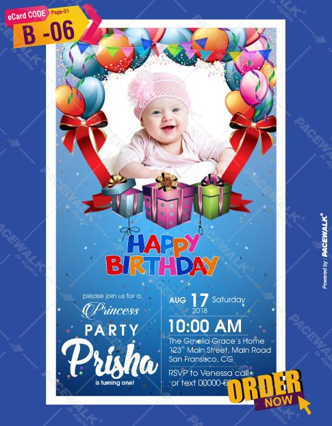 Online Digital Birthday Invitation eCards