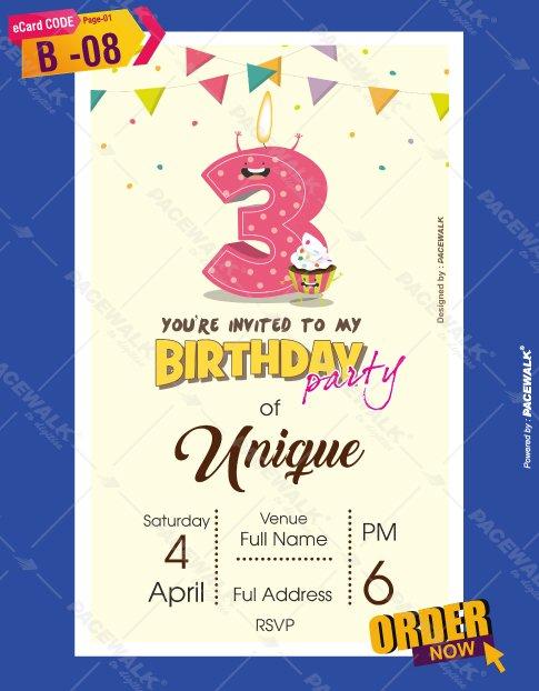 3rd Birthday Party invitation maker online