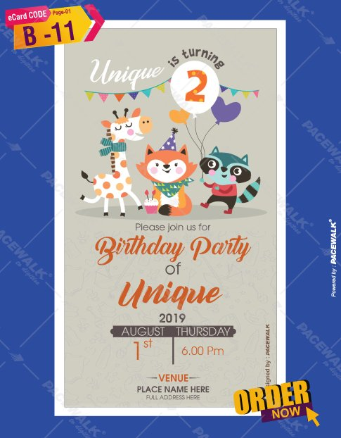 1st birthday party invitation card online