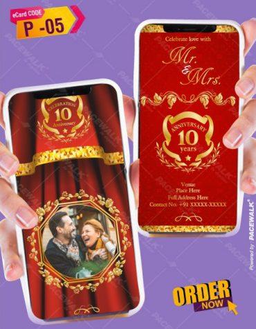 10th wedding anniversary invitation card