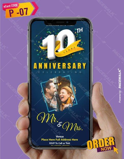 10th wedding anniversary party invitation card