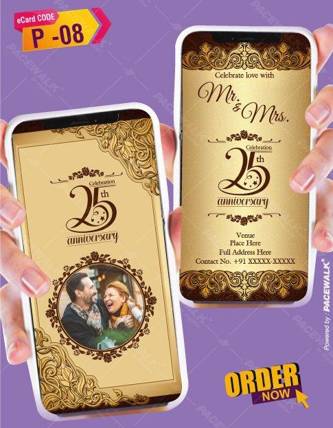 25th wedding anniversary party invitation card