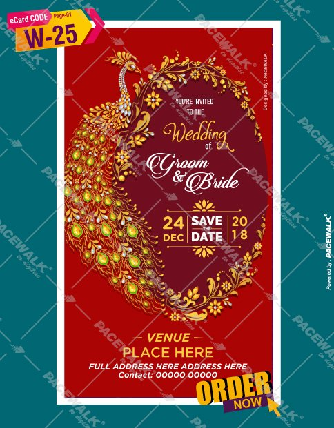 peacock design wedding invitation cards