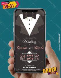 christian wedding invitation card groom side