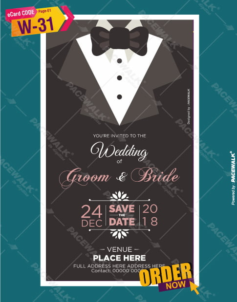 christian wedding invitation card groom side