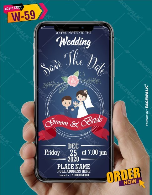 Cute Cartoon Style Wedding Invitation Card