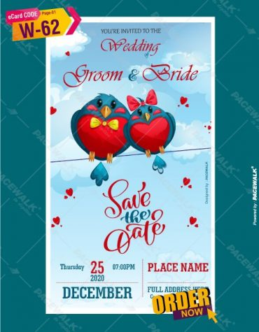 Wedding invitation ecard Birds Theme