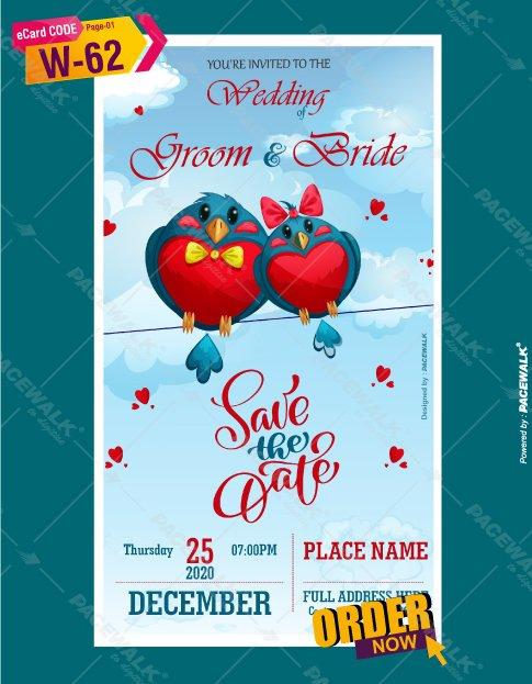 Wedding invitation ecard Birds Theme