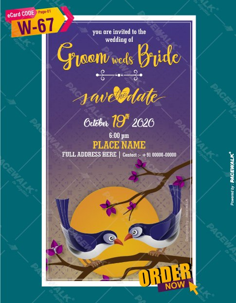 cute birds wedding invitation card
