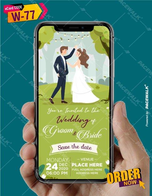 cartoon couple wedding invitation card