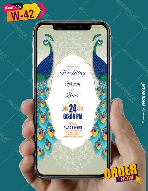 peacock themed wedding invitation cards