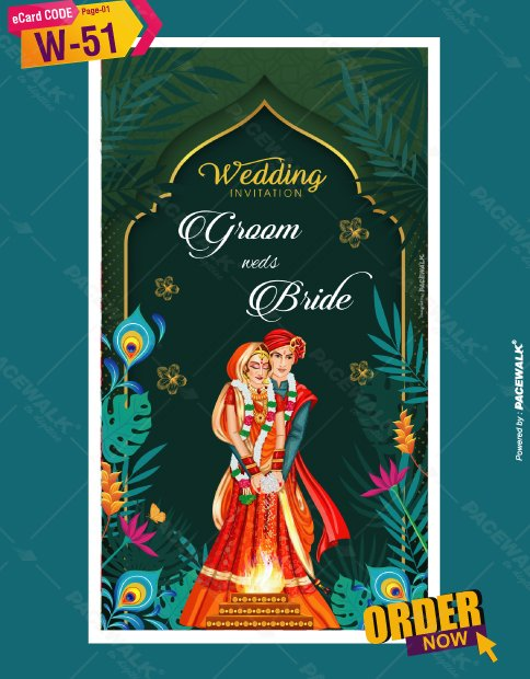 Elegant Green Wedding Invitation Card