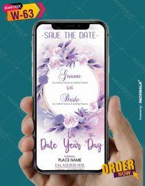Purple floral wedding invitation card template