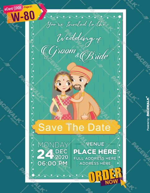 caricature Wedding Invitation card online
