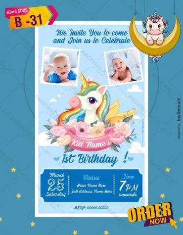 Unicorn Birthday Invitations