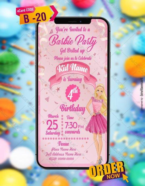 Barbie Birthday Invitation Card Template