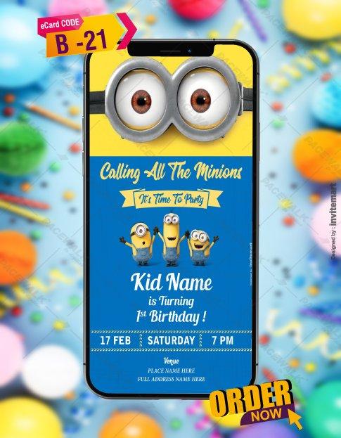 Minions Birthday Invitation Card Template