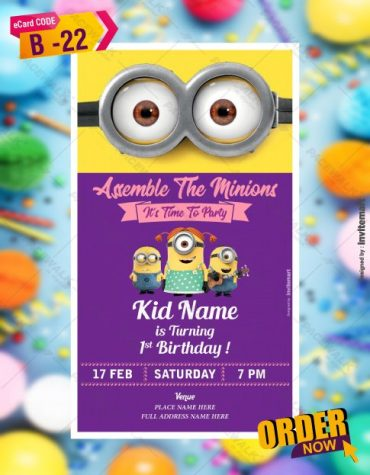WhatsApp Minion Birthday Invitation Card