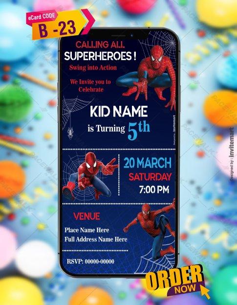 Spiderman Birthday Invitation Card