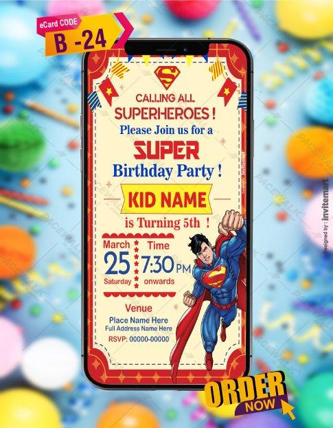 Superman Birthday Party Invitation Card