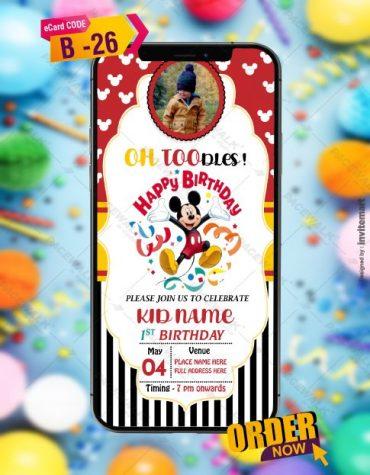 Mickey Mouse Birthday Invitation Card Templates