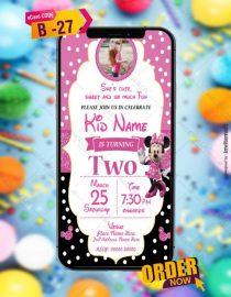Minnie Mouse Birthday Invitation Card Templates