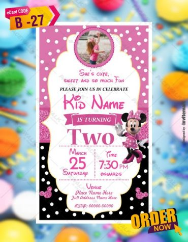 Minnie Mouse Birthday Invitation Card Templates