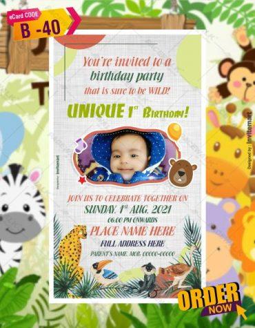 Jungle Themed Birthday Invitation