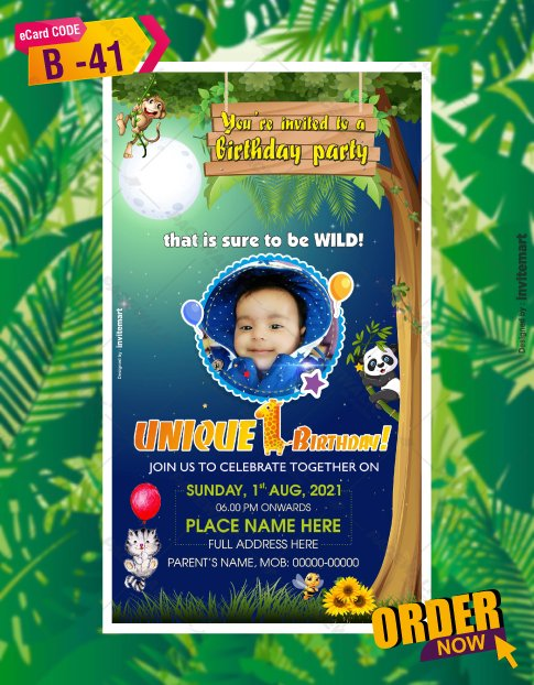 Personalized Jungle Birthday Invitations