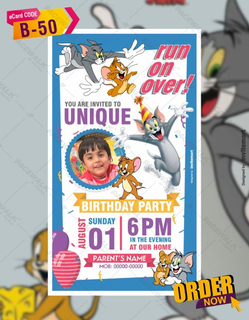 Tom and Jerry Birthday Party Invitations