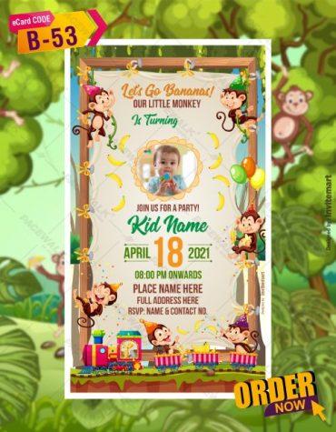 Little Monkey Birthday Invitation Template