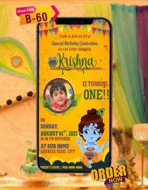 Krishna Theme Birthday Invitation