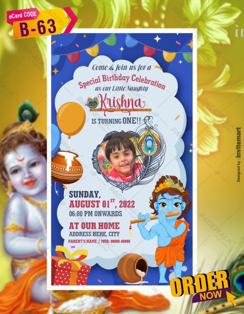 Krishna Theme Birthday Party Card