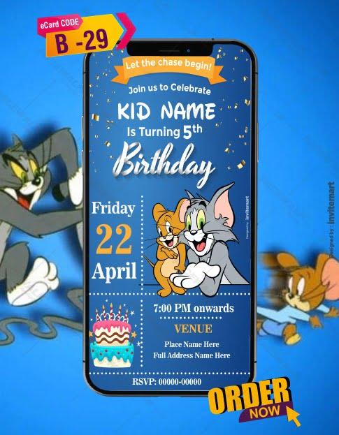 Tom and Jerry Birthday Invitation Card