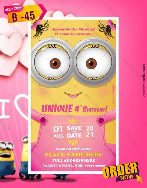 Funny Minions Invitation Card