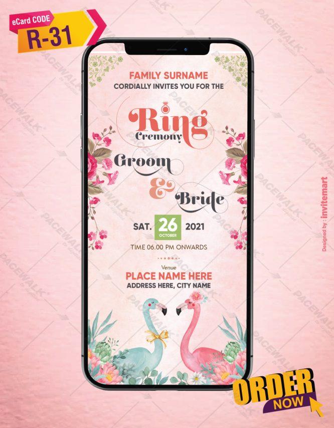 Flamingo Themed Ring Ceremony Invite