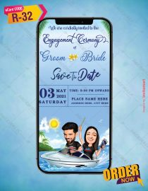 Custom Caricature Engagement Save the Date