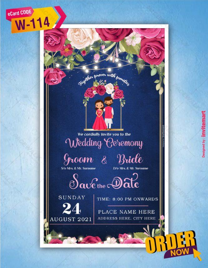 Royal Blue Wedding Invitation Card