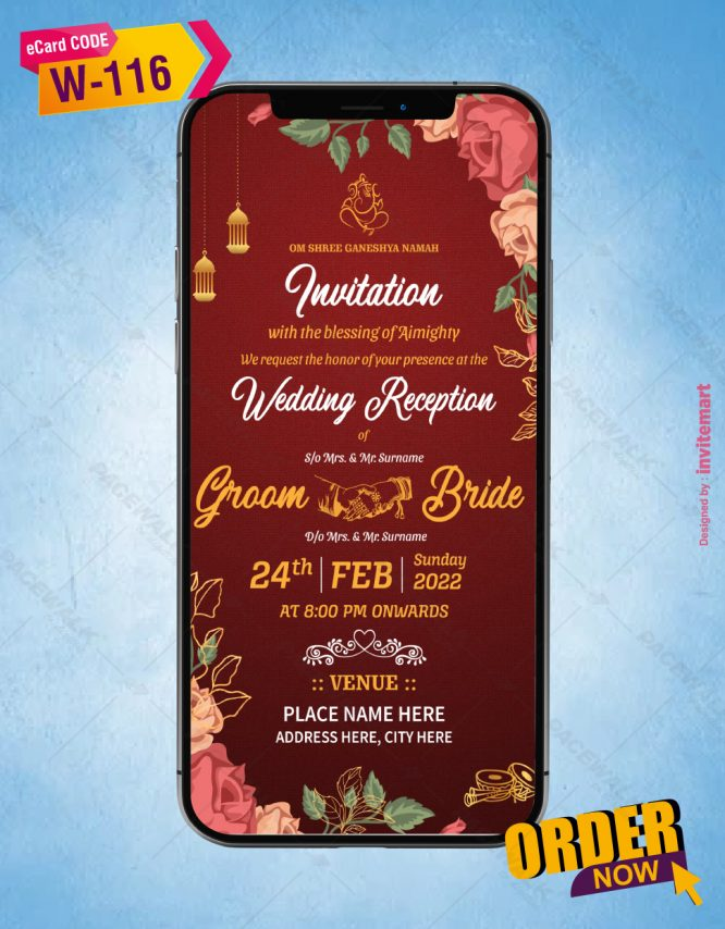 Traditional Hindu Wedding Invitation Card