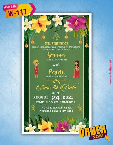 Floral Indian Wedding Invitation Card