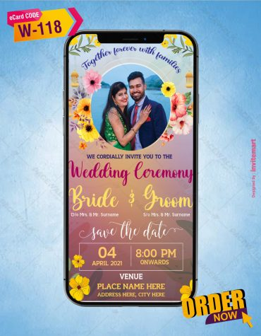 Flower Theme Wedding Invitation Card
