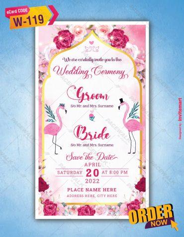 Flamingo Theme Wedding Invitation Card