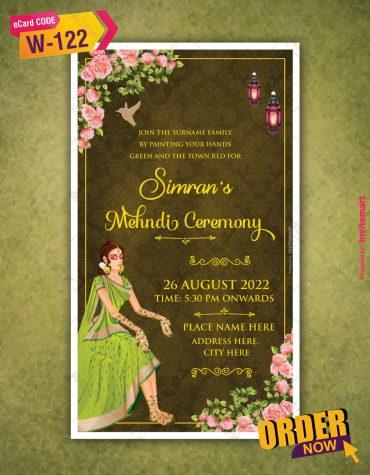 Mehndi Ceremony Invitation Card